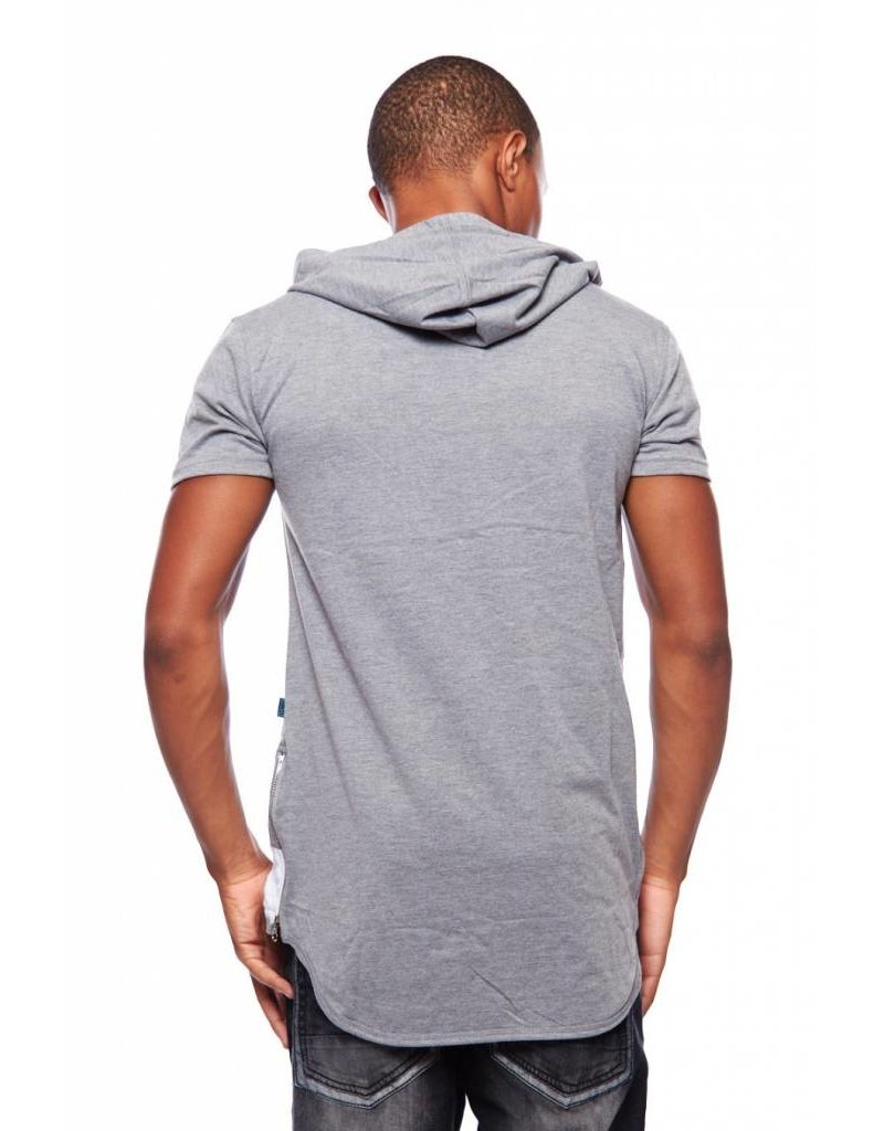 CODEONE Color Block Quilted Accent Hooded Tee W/ Side Zippers - Grey