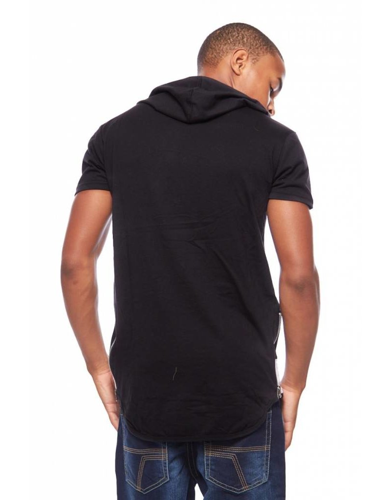 CODEONE Color Block Quilted Accent Hooded Tee W/ Side Zippers - Black