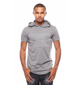 CODEONE Hooded Quilted Zipper Pocket Tee - Heather Grey