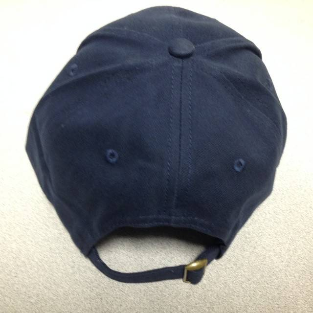 Navy Hat with Gold Puff Logo