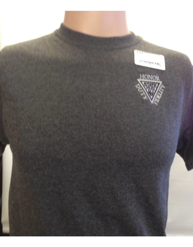 Delta Embroidered T Shirt Charcoal Heather Grey