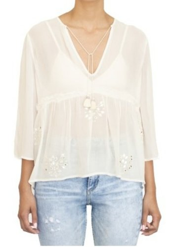 Tops Mirror Embroidered Blouse