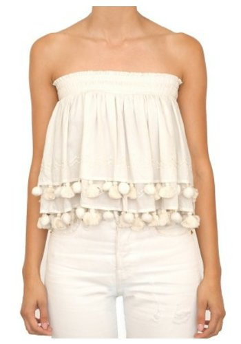 Tops Tiered Strapless Tube Top
