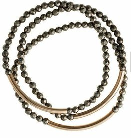 Bracelets Wahine Rox - Pyrite Bracelet with Gold Bar