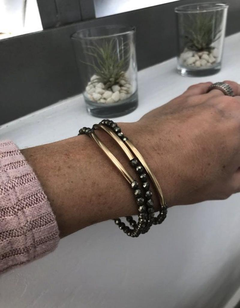 Bracelets Wahine Rox - Pyrite Bracelet with Gold Bar