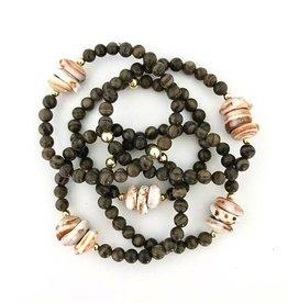 Bracelets Wahine Rox - Puka Shell Brown Jasper Stretch Bracelet