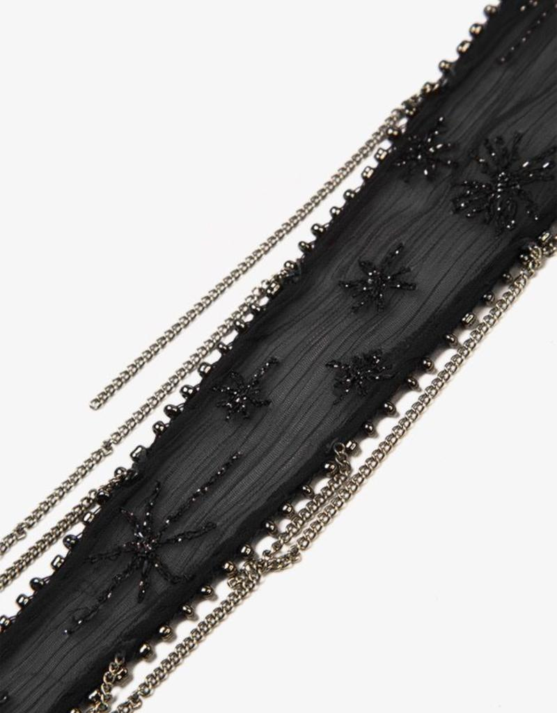 Scarves Chan Luu - Black Embroidered Starburst Long Skinny Scarf