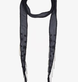 Scarves Chan Luu - Ebony Embroidered Starburst Long Skinny Scarf