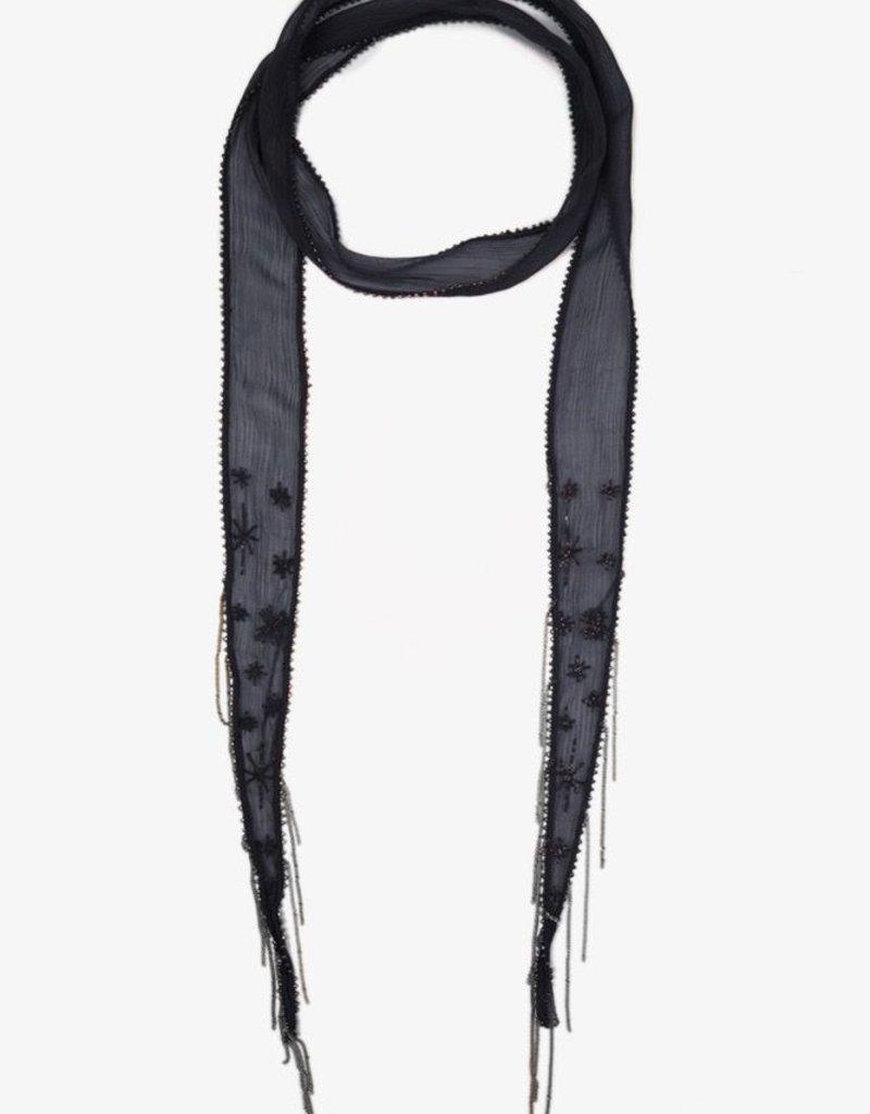 Scarves Chan Luu - Ebony Embroidered Starburst Long Skinny Scarf