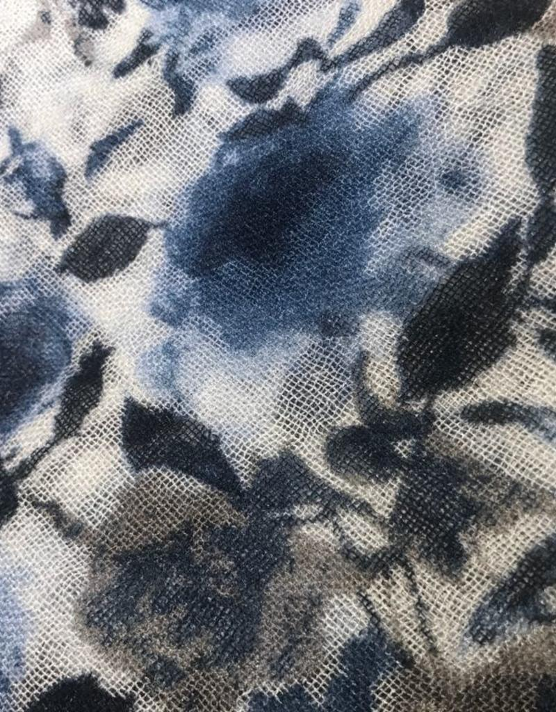 Scarves Chan Luu - Blue Combo Peony Print Cashmere and Silk Scarf
