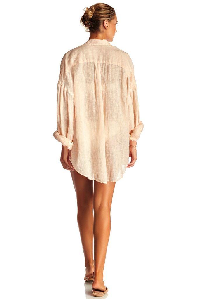 Dresses Vitamin A - Playa Shirt Dress Blush Linen