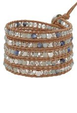 Bracelets Chan Luu - Amazonite Mix Wrap Bracelet on Beige Leather