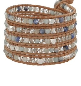 Bracelets Chan Luu - Amazonite Mix Wrap Bracelet on Beige Leather