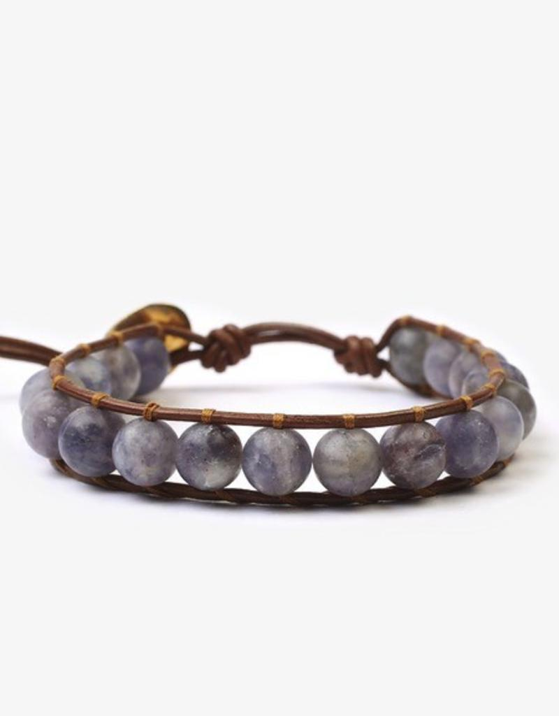 Bracelets Chan Luu Matte Iolite Mix Stone Single Wrap Bracelet On Henna Leather