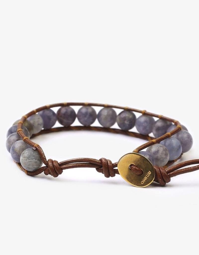 Bracelets Chan Luu - Matte Iolite Mix Stone Single Wrap Bracelet on Henna Leather