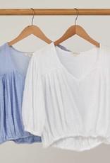 Tops felicite - Crop Peasant Top in Cotton Gauze