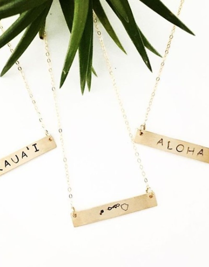 Necklaces Wahine Rox - Gold Bar Necklace Aloha