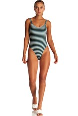 Swimwear Vitamin A - Leah Bodysuit in Marine Stripe Grey