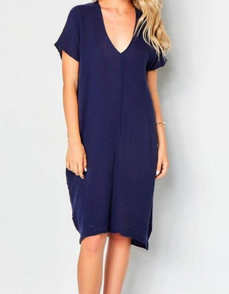 b2df6545f2 Dresses felicite - Double V Neck Dress in Navy - Olivine Beach Boutique