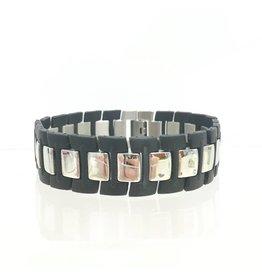 Mens Rubber & Stainless Squares Bracelet