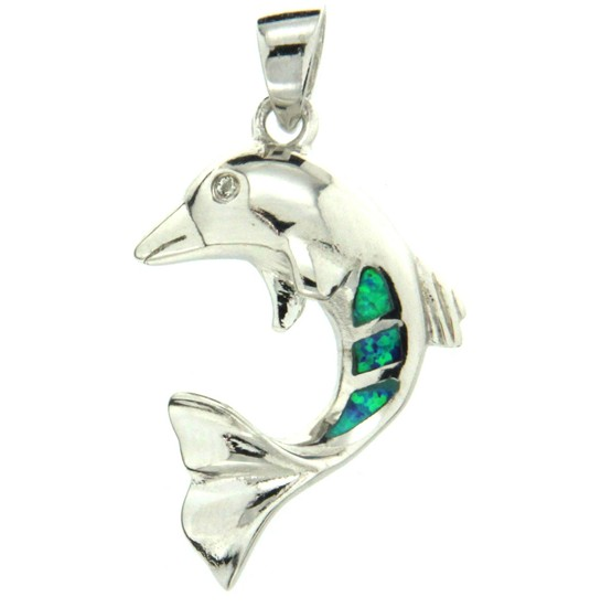 Sterling & Opal Dolphin (Three Small Opals)