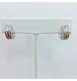 Sterling and CZ Huggie Earrings, SM