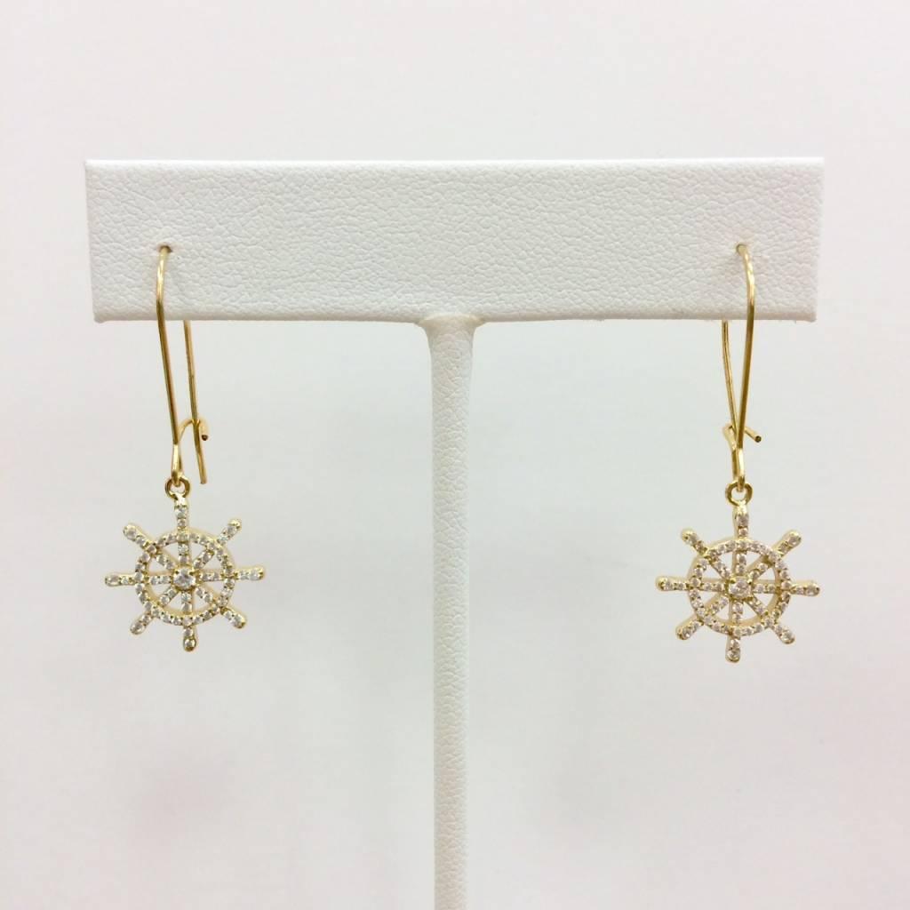 Gold Filled CZ Boat Wheel Earrings