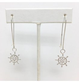 Sterling CZ Boat Wheel Earrings Silver