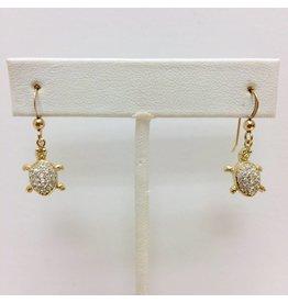 Gold Filled CZ Turtle Earrings