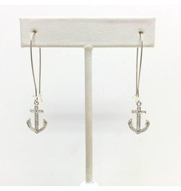 Sterling Dangle Anchor CZ Earrings