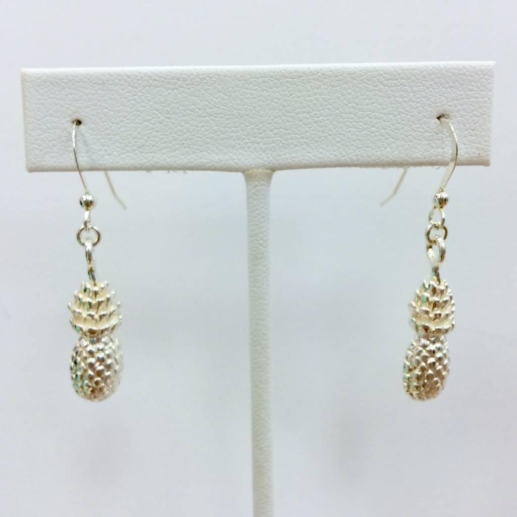Sterling Hollow Pineapple Earrings