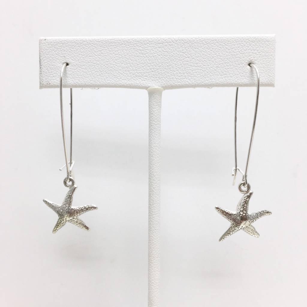 Sterling Starfish Dangle Earrings Med