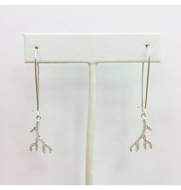 Sterling CZ Stick Coral Earrings