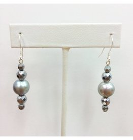 Hematite and Grey Pearl Earrings
