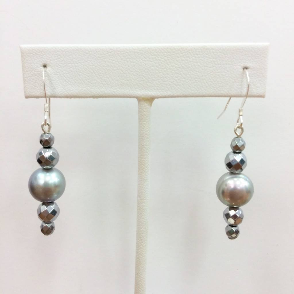 Hematite and Grey Pearl Earrings