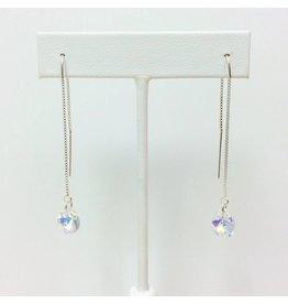 White Crystal Threader Earrings
