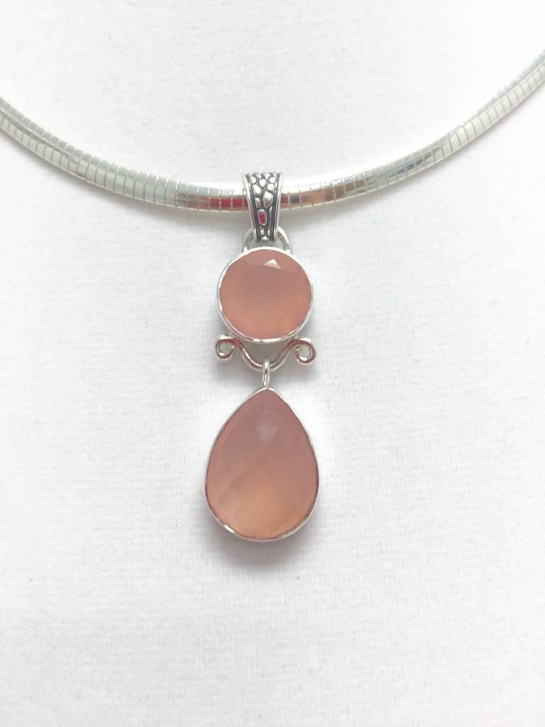 Double Pink Chalcedony Pendant
