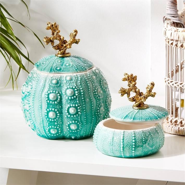 Turquoise Sea Urchin Trinket Box - Large