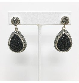 Black Skate Swarovski Crystal Encrusted Teardrop Earrings