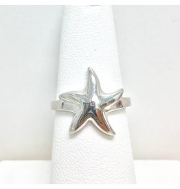 Sterling Small Solid Starfish Ring