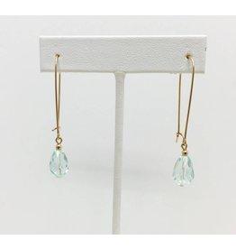 Gold Filled Aquamarine Crystal Earrings