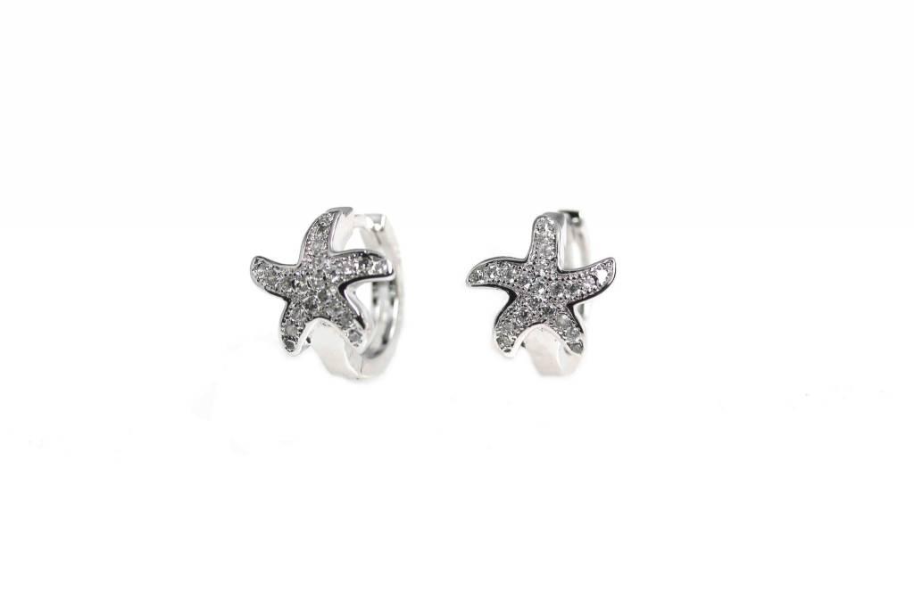 CZ Starfish Huggie Earrings