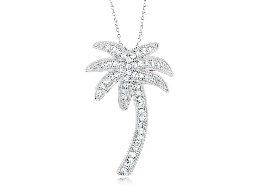 Palm Tree - Large CZ Silver