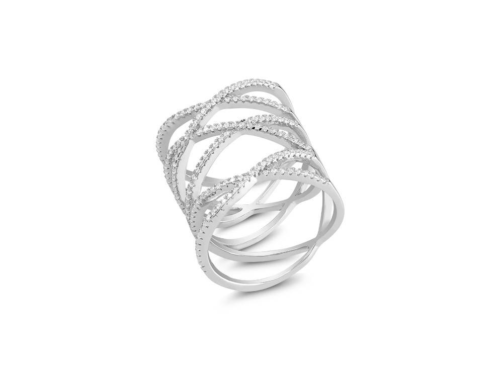 Sterling & CZ Cross Band Knuckle Ring