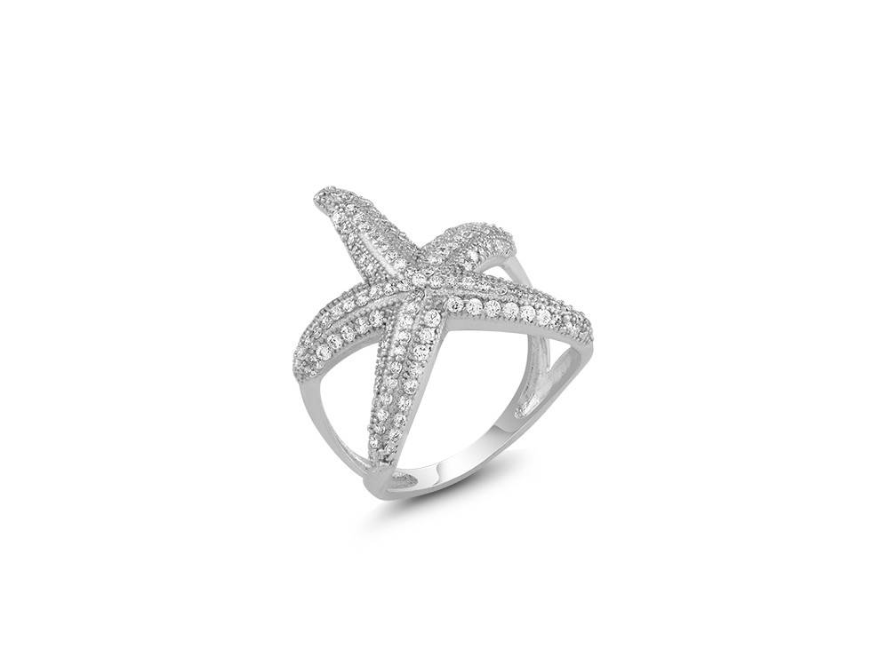 Sterling Silver & CZ Starfish Wrap Around Ring
