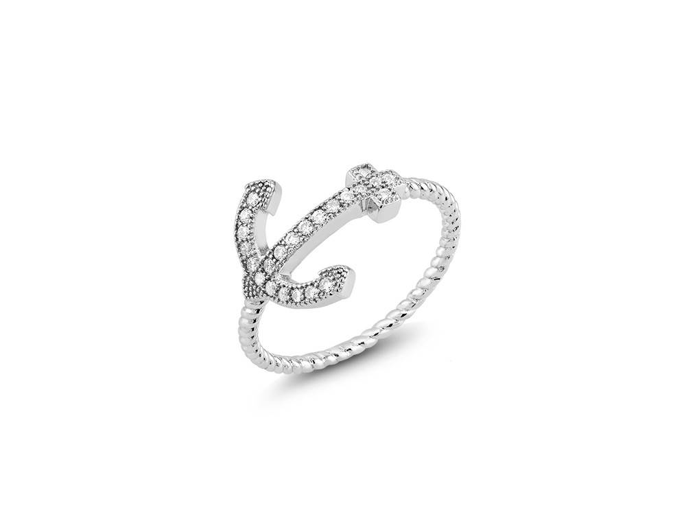 Sterling & CZ Anchor Ring with Rope Band