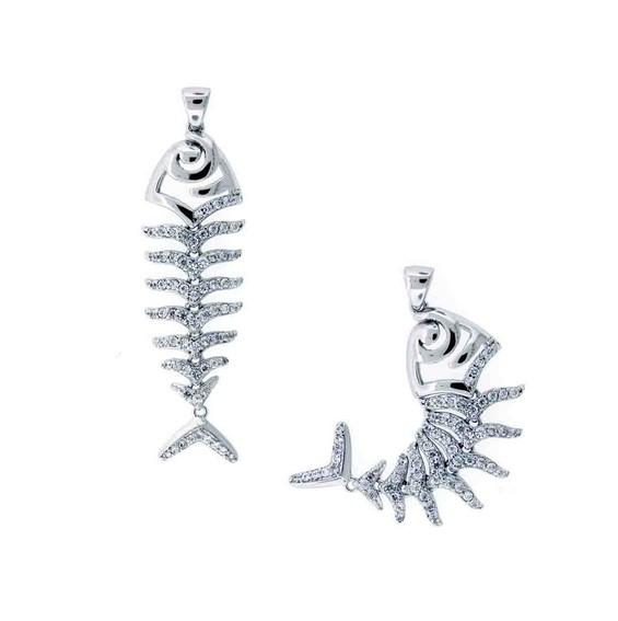 Fish Bone - CZ Silver