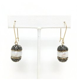 "Gold Filled Pearl & Marcasite ""Acorn"" Earrings"