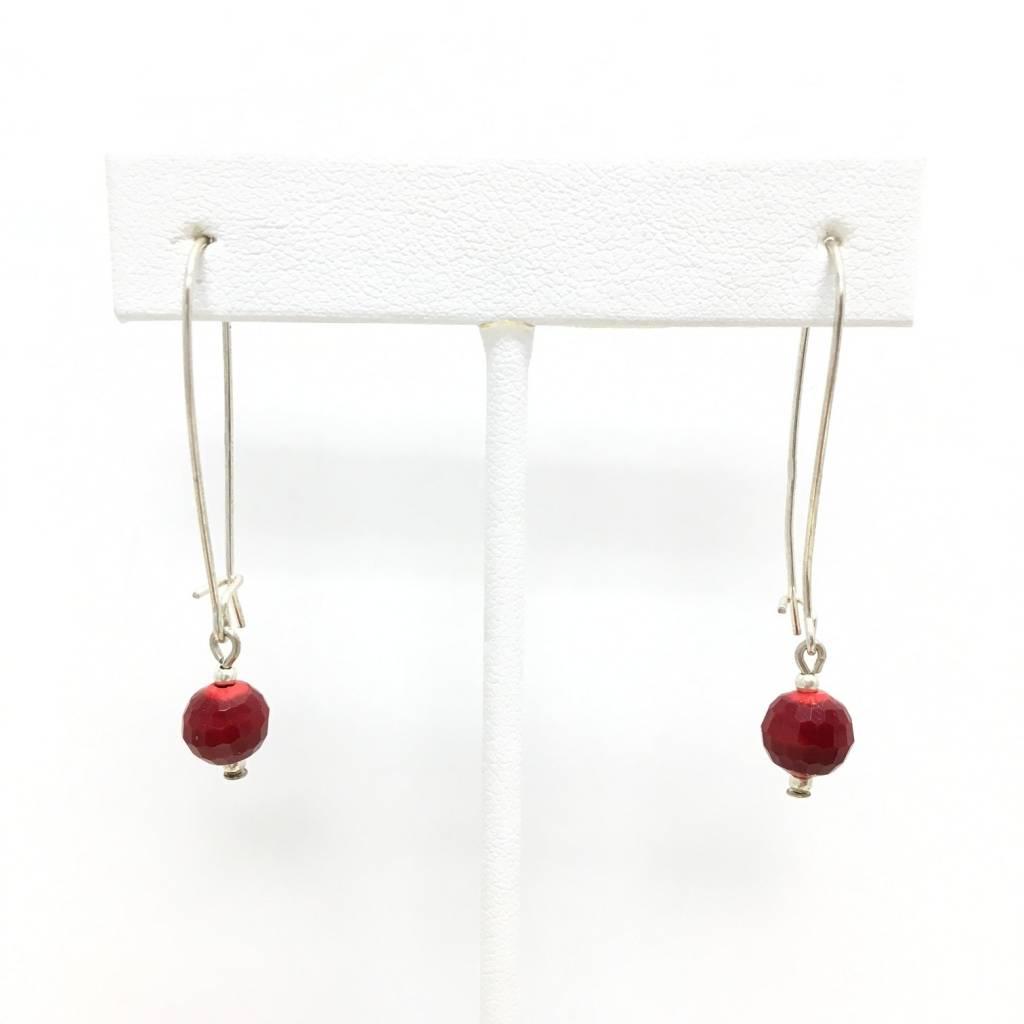 Sterling Red Agate Earrings