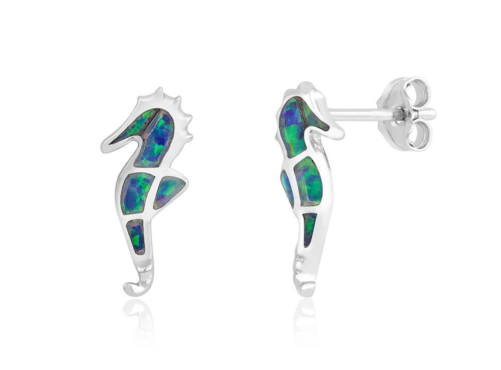 Opal Seahorse Stud Earrings